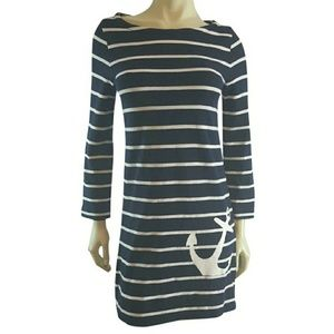 J Crew Navy Nautical Striped Anchor Boatneck Dress